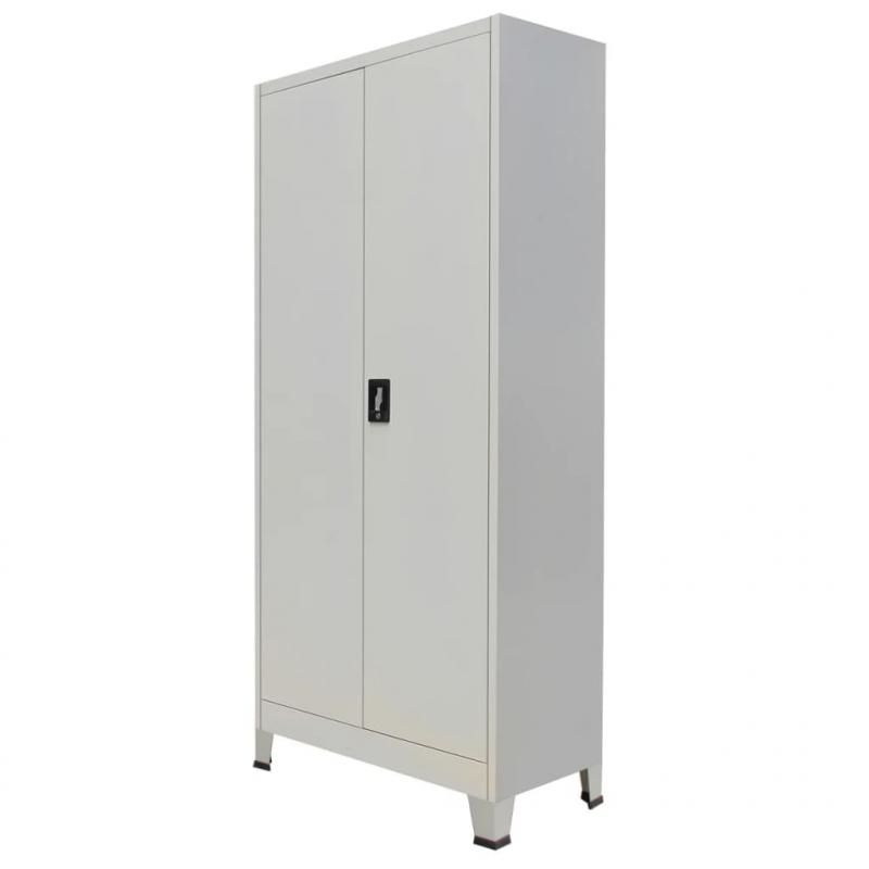 Büroschrank mit 2 Türen Stahl 90x40x180 cm Grau