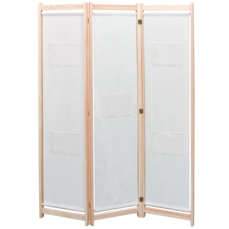 3-teiliger Raumteiler Creme 120 x 170 x 4 cm Stoff