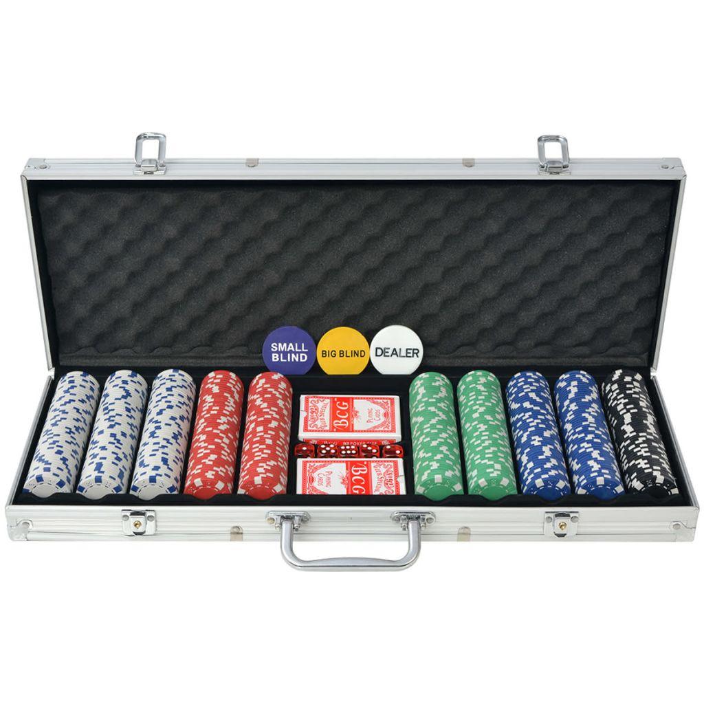 Poker Set mit 500 Chips Aluminium