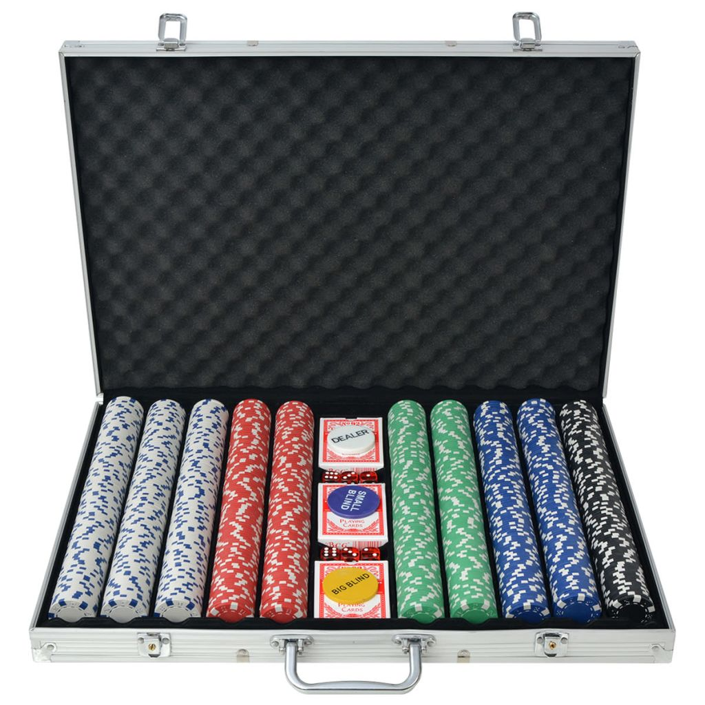Poker Set mit 1.000 Chips Aluminium