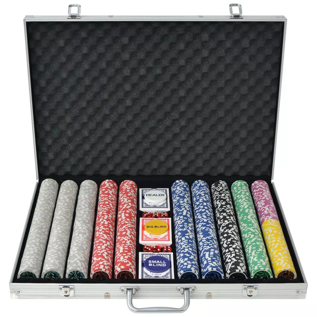Poker Set mit 1.000 Laserchips Aluminium