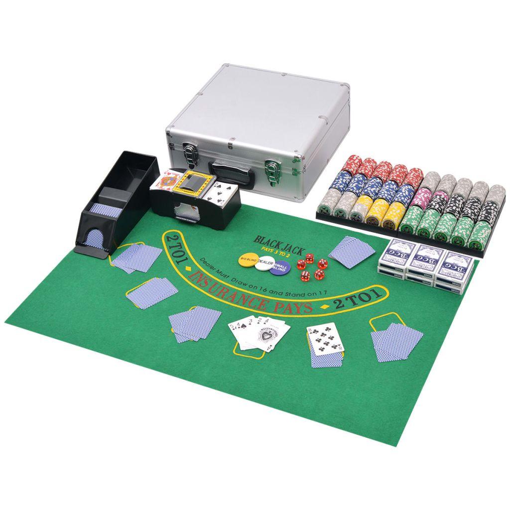 Kombiniertes Poker/Blackjack Set mit 600 Laserchips Aluminium