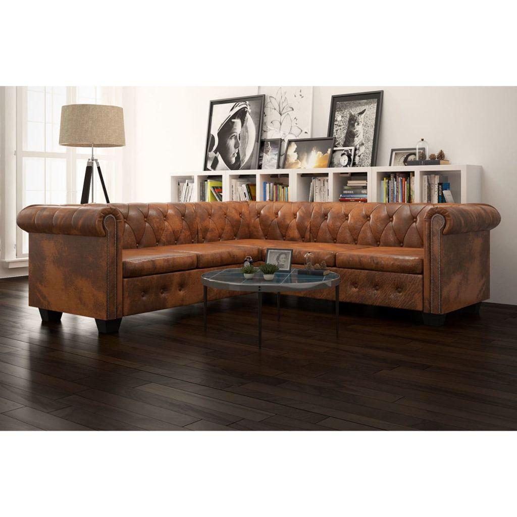 Chesterfield Sofa 5-Sitzer Kunstleder Braun