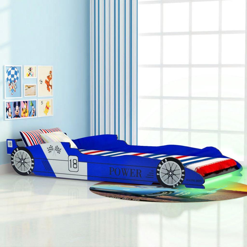 Kinderbett mit LED im Rennwagen-Design 90 x 200 cm Blau