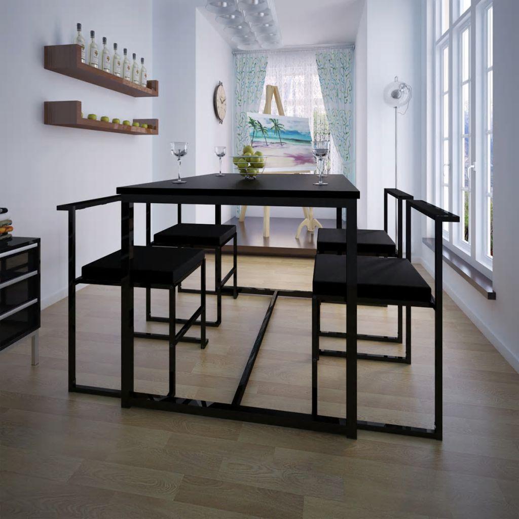 5-teilige Essgruppe Tisch + 4 Stühle Schwarz