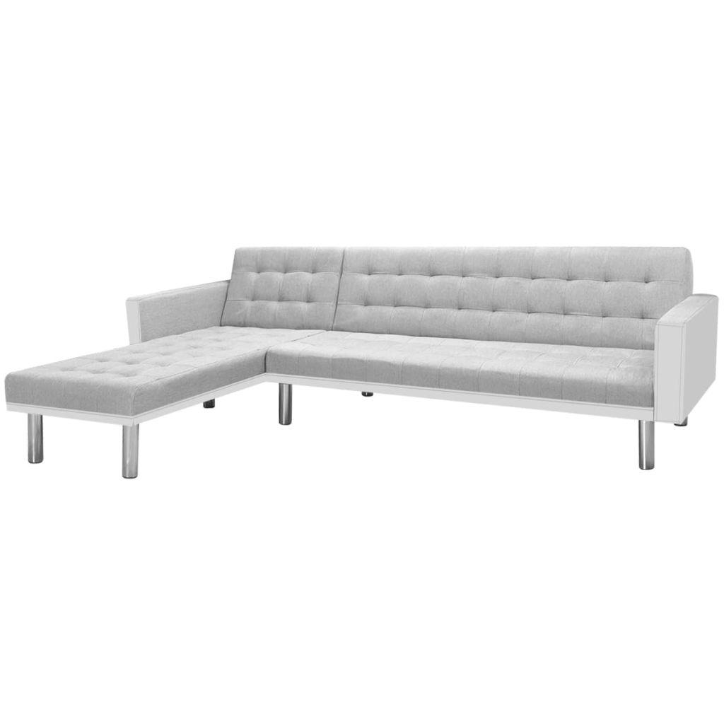 Ecksofabett Stoff 218 x 155 x 69 cm Weiß und Grau