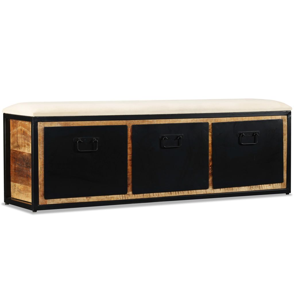 Aufbewahrungsbank 3 Schubladen Mangoholz Massiv 120x30x40 cm