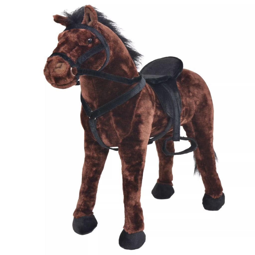 Plüschtier Stehend Pferd Dunkelbraun XXL