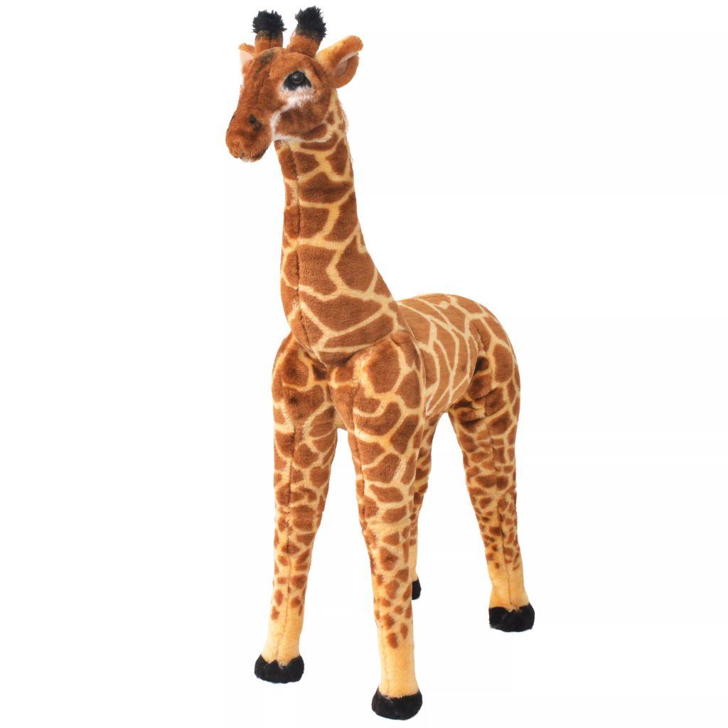 Stehendes Plüschspielzeug Giraffe Braun und Gelb XXL