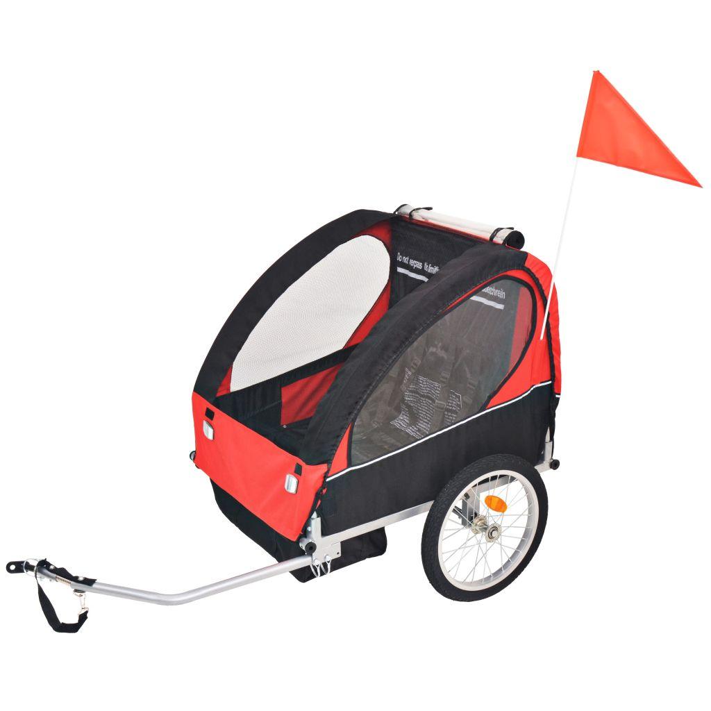 Kinder Fahrradanhänger Rot und Schwarz 30 kg