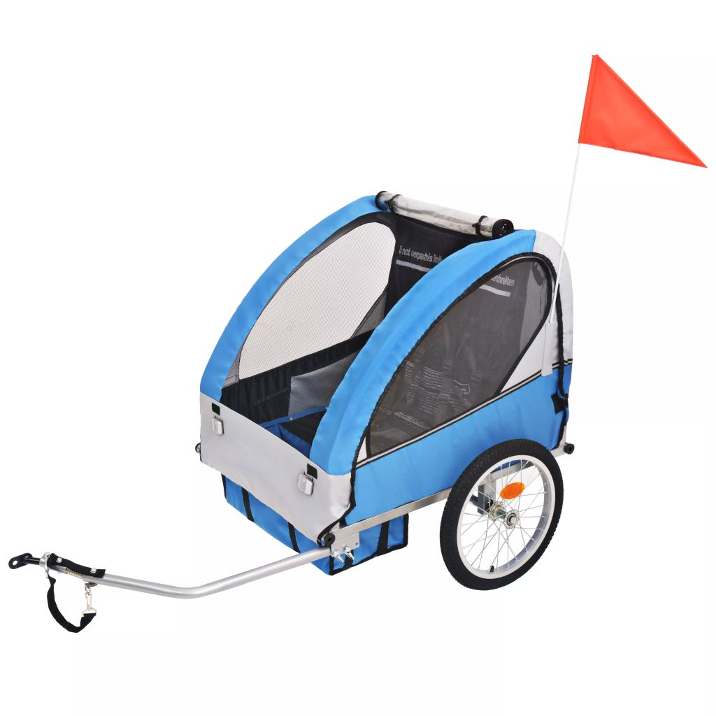 Kinder Fahrradanhänger Grau und Blau 30 kg