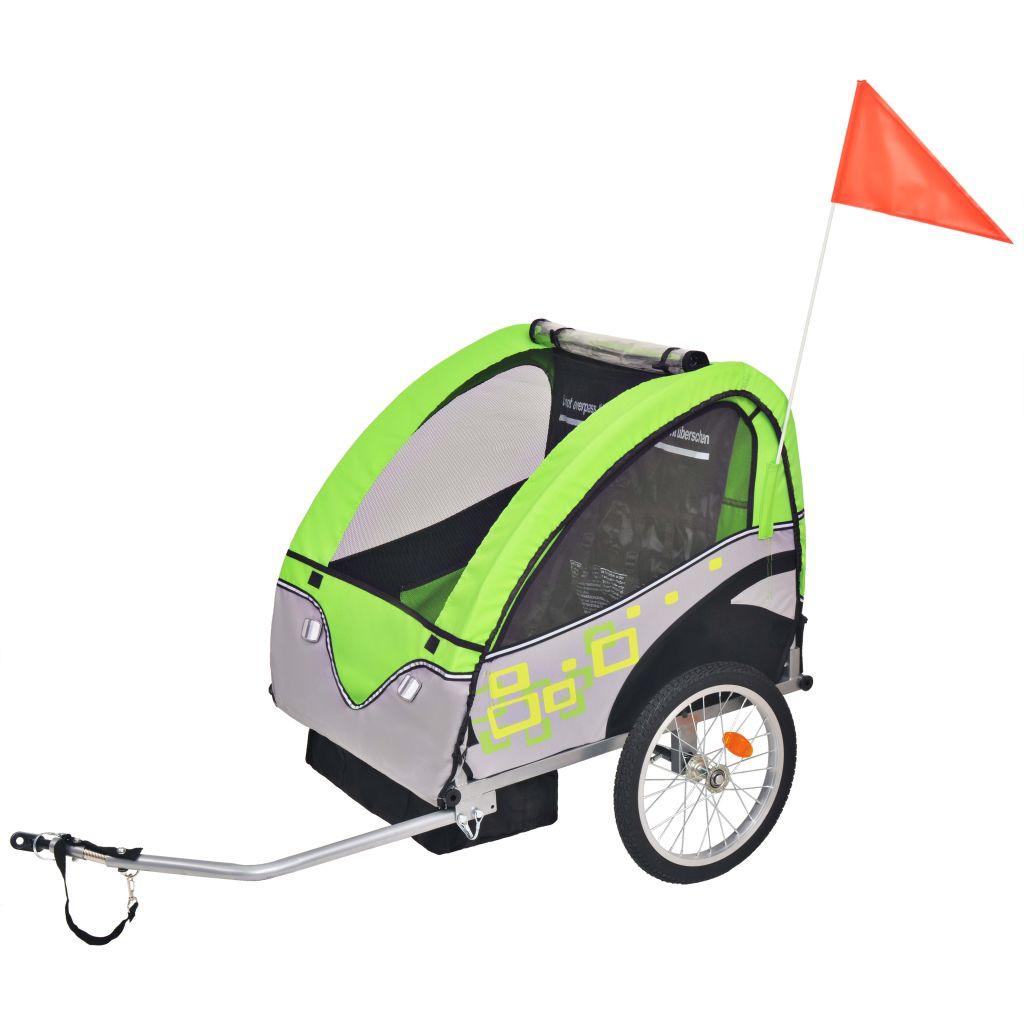 Kinder Fahrradanhänger Grau und Grün 30 kg