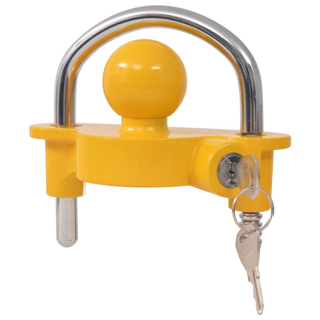 Anhängerschloss 2 Schlüssel Stahl und Aluminiumlegierung Gelb