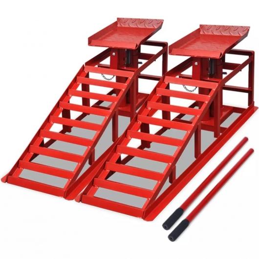Auffahrrampen 2 Stk. Rot Stahl