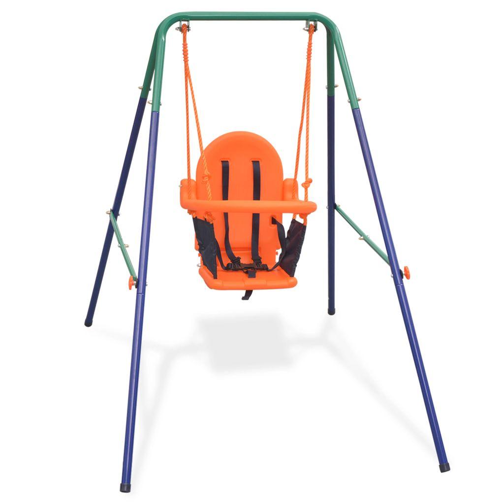 Kleinkinder-Schaukelset mit Sicherheitsgeschirr Orange