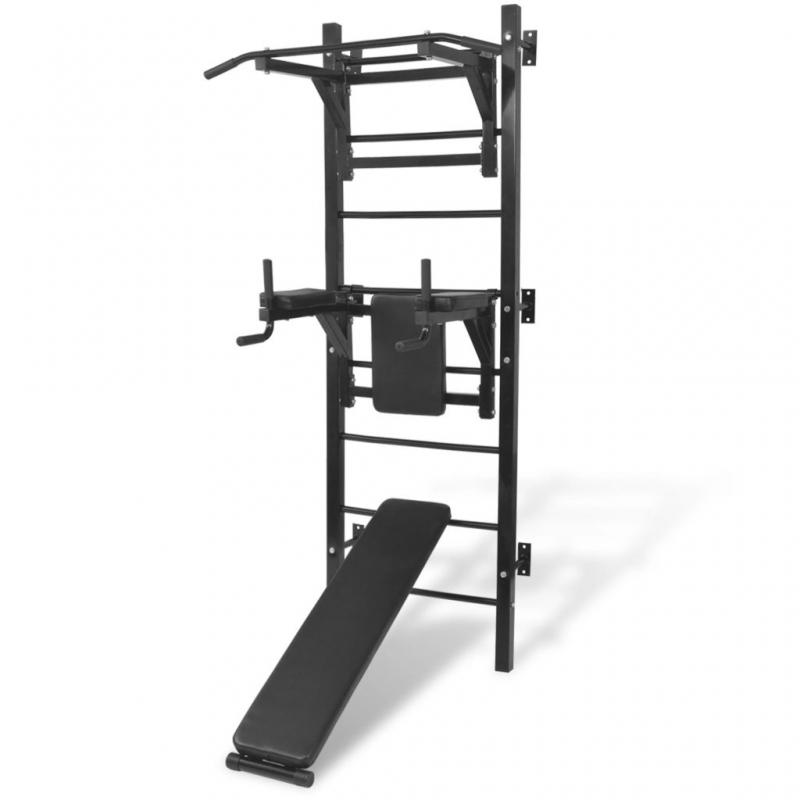 Multifunktionaler Fitness-Kraftturm zur Wandmontage Schwarz
