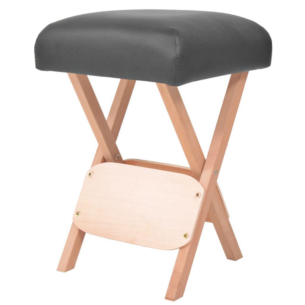 Massage-Klapphocker mit 12 cm Dickem Sitz Schwarz