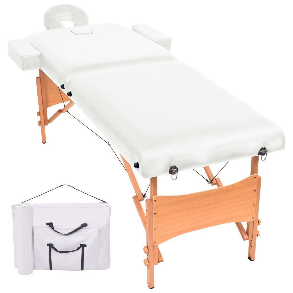 Massageliege 2 Zonen Tragbar 10 cm Polsterung Weiß