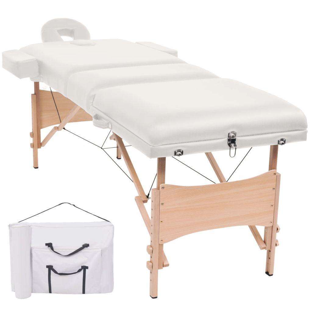 Massageliege 3 Zonen Tragbar 10 cm Polsterung Weiß
