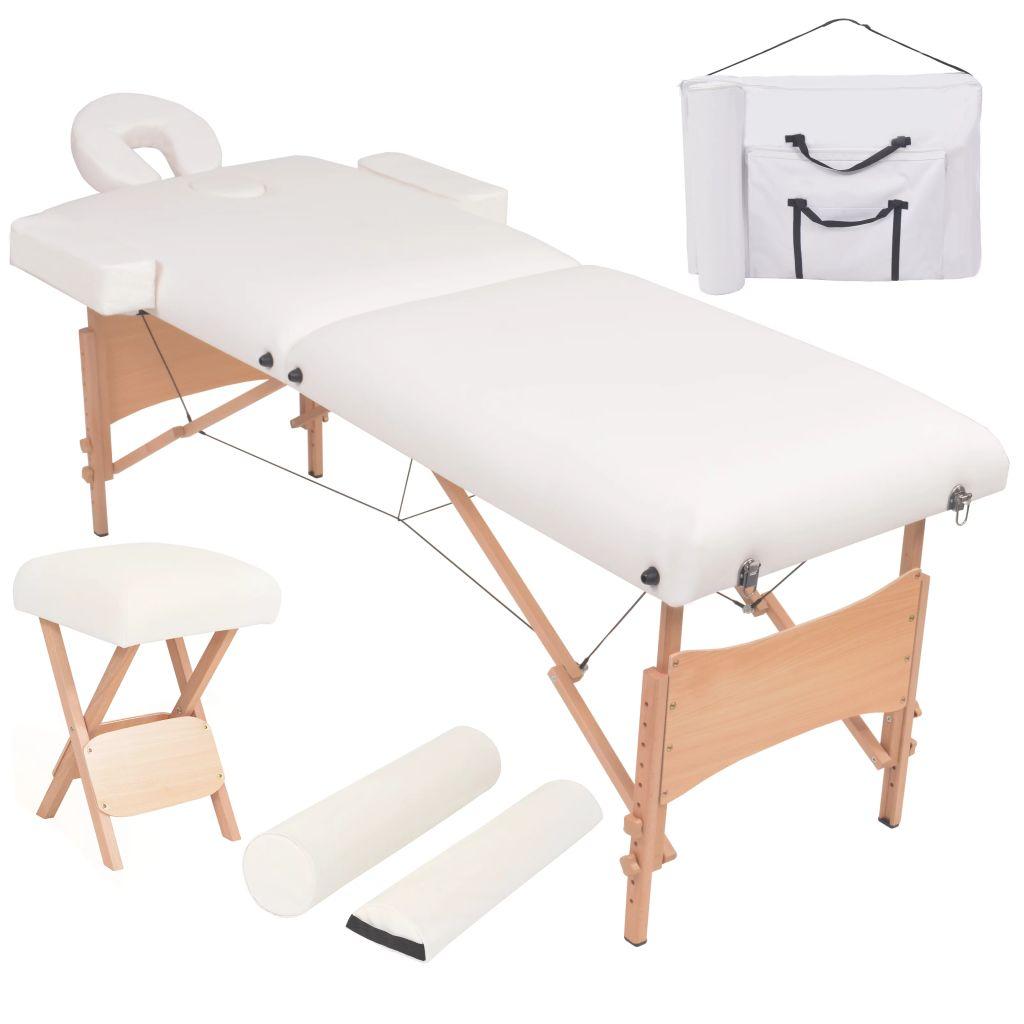 Massageliege 2 Zonen Tragbar mit Hocker 10 cm Polsterung Weiß