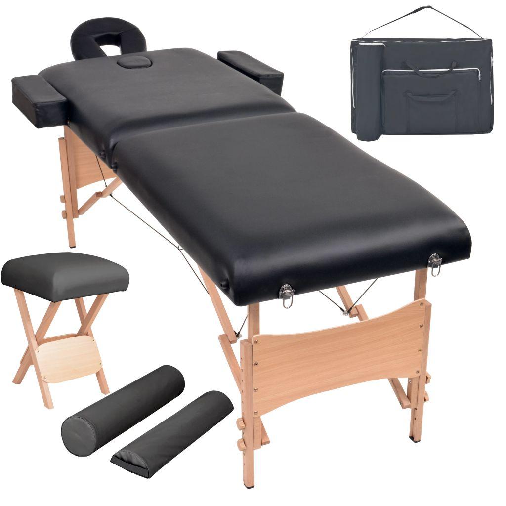 Massageliege 2 Zonen Tragbar mit Hocker 10 cm Polster Schwarz