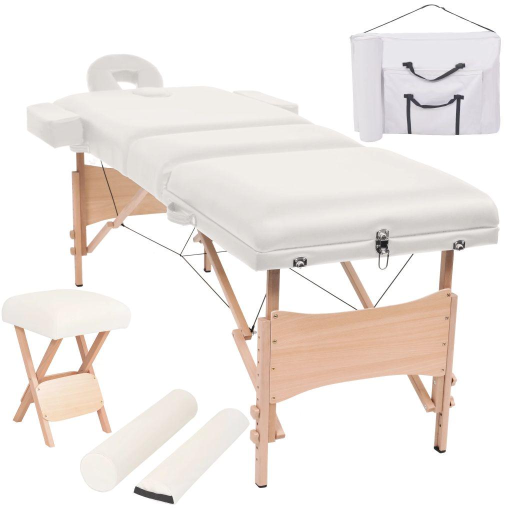 Massageliege 3 Zonen Tragbar mit Hocker 10 cm Polsterung Weiß