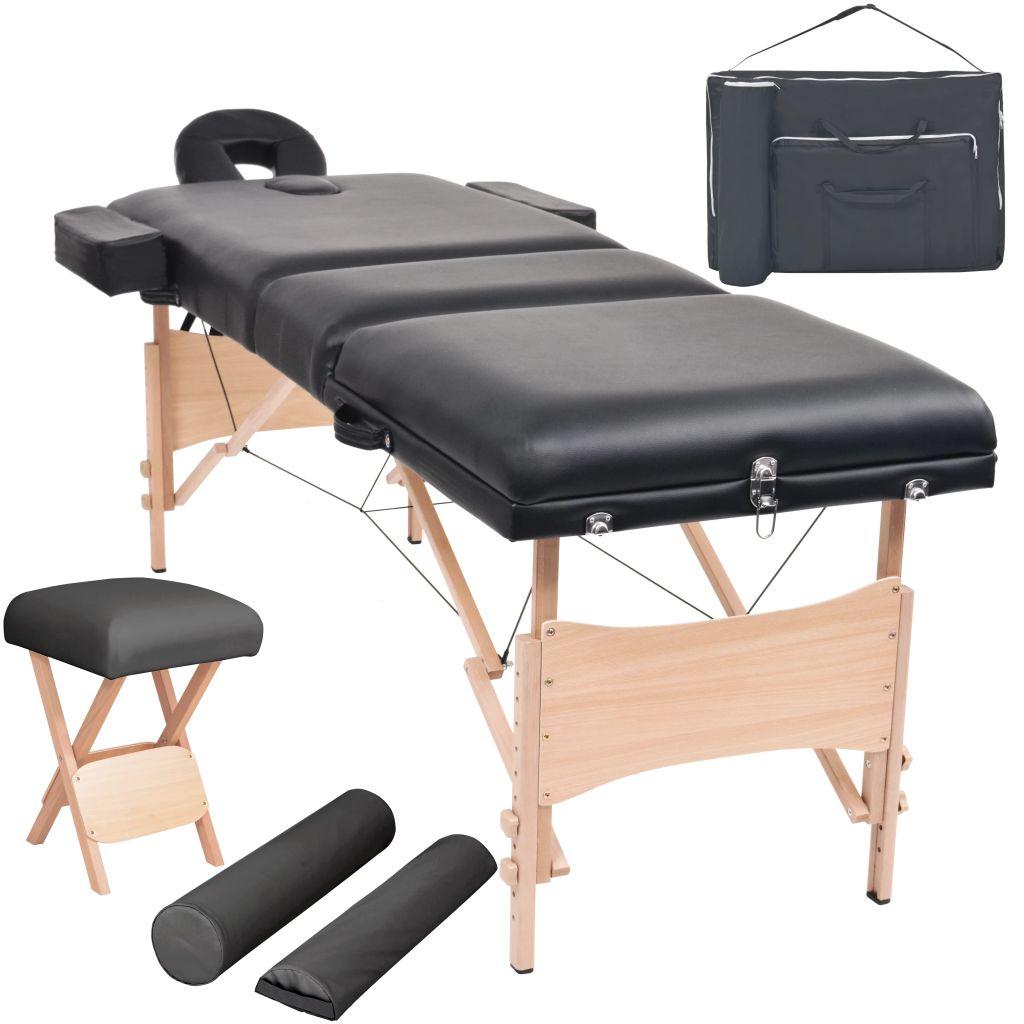Massageliege 3 Zonen Tragbar mit Hocker 10 cm Polster Schwarz