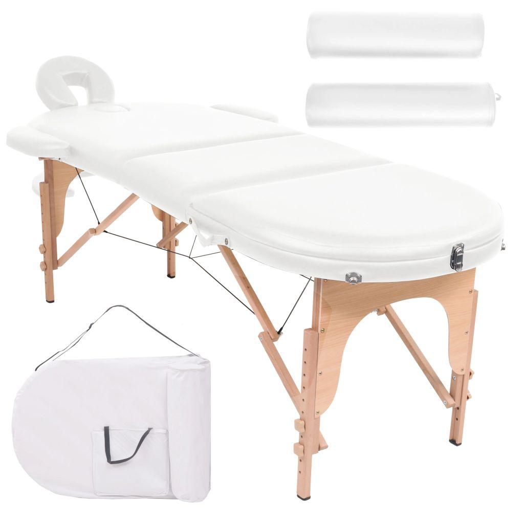 Massageliege Tragbar mit 2 Lagerungskissen 10 cm Polsterung Weiß