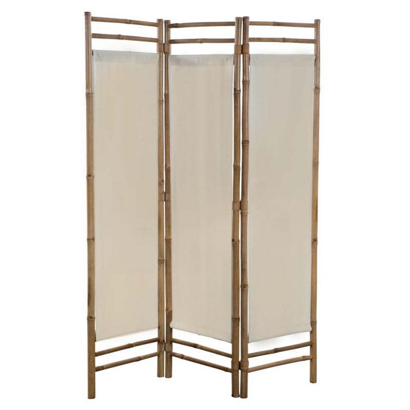 3-teiliger Faltbarer Raumteiler Bambus und Leinwand 120 cm