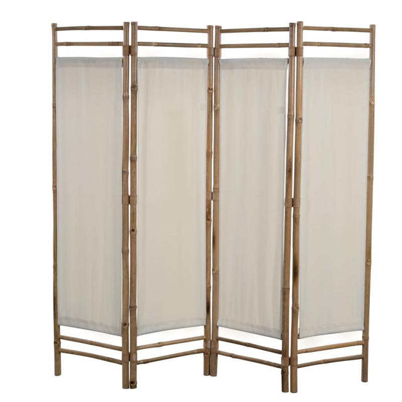 4-teiliger Faltbarer Raumteiler Bambus und Leinwand 160 cm