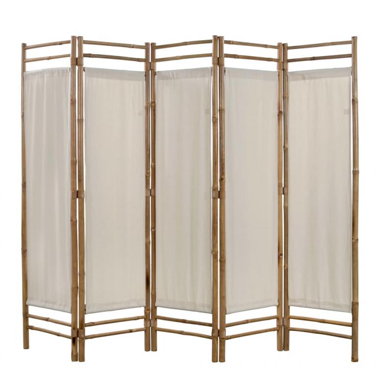 5-teiliger Faltbarer Raumteiler Bambus und Leinwand 200 cm