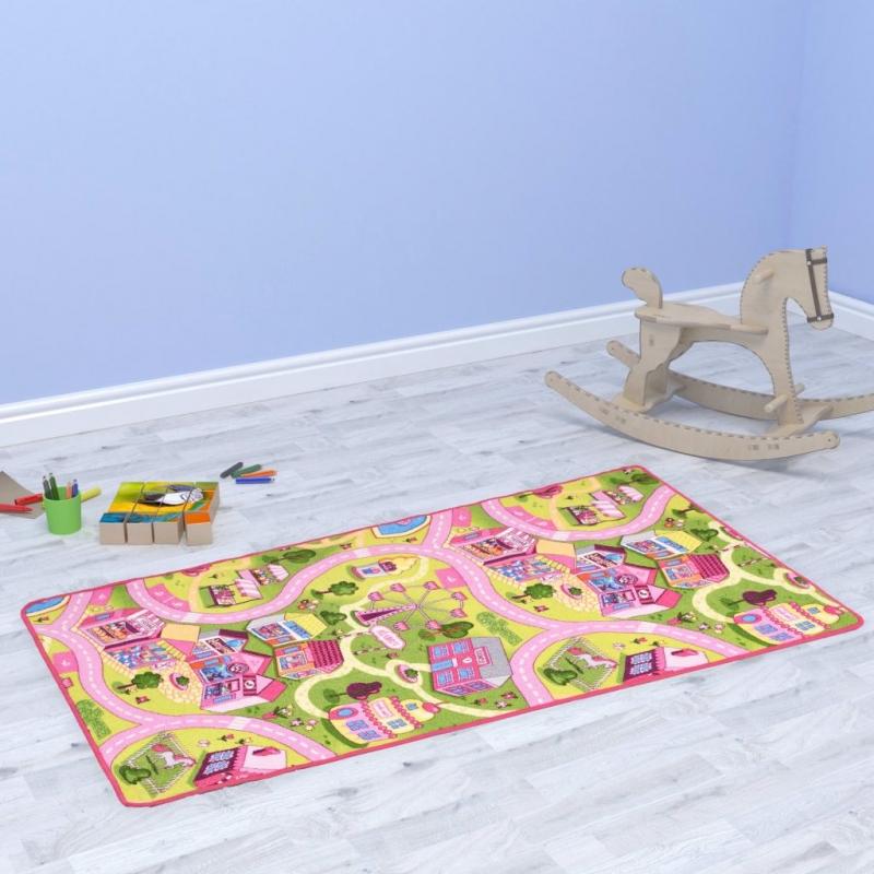 Spielmatte Schlingenpol 100 x 165 cm Süßes Stadtmuster