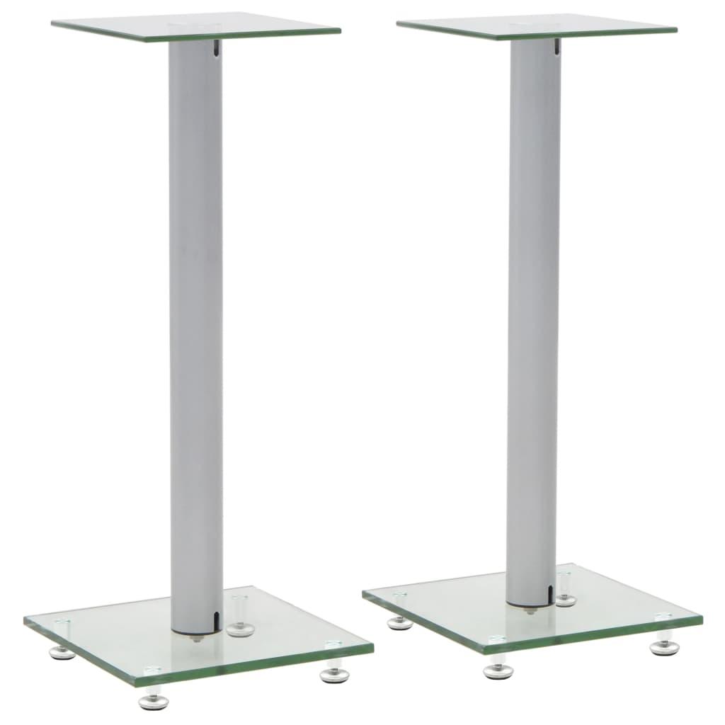 Lautsprecherständer Säulen-Design 2 Stk. Hartglas Silbern
