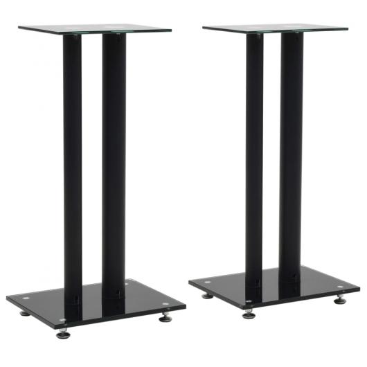 Lautsprecherständer 2 Stk. Doppelsäulen-Design Hartglas Schwarz