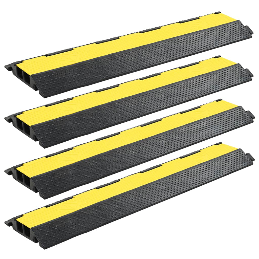 Kabelbrücken Überfahrschutz 4 Stk. 2 Kanäle Gummi 101,5 cm