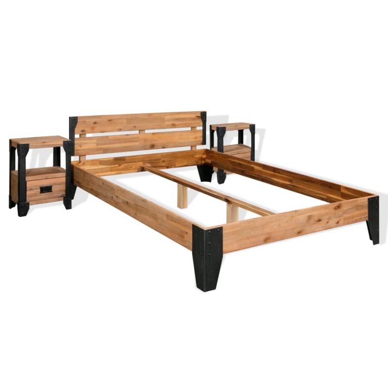 Bettrahmen 2 Nachttische Akazienholz Massiv Stahl 140x200 cm