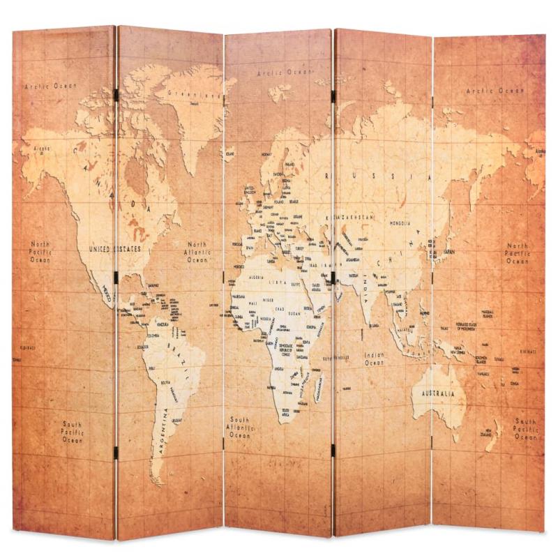 Raumteiler klappbar 200 x 170 cm Weltkarte Gelb