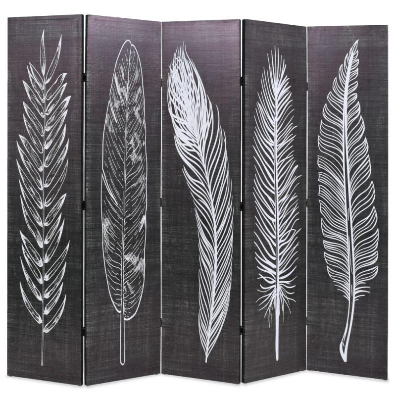 Raumteiler klappbar 200 x 170 cm Federn Schwarz-Weiß