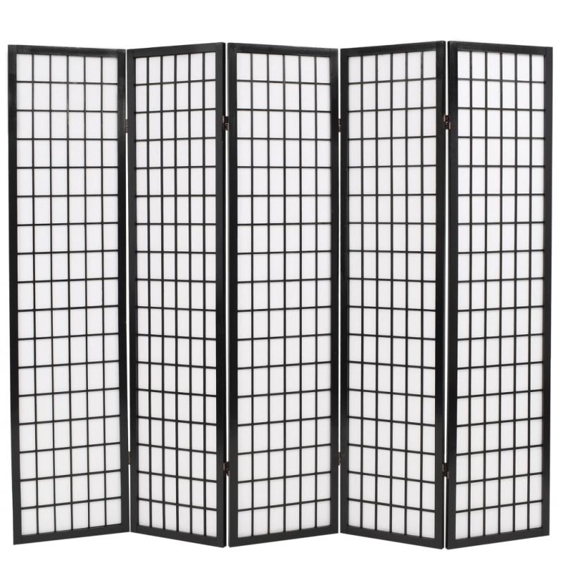 5tlg. Raumteiler Japanischer Stil Klappbar 200 x 170 cm Schwarz