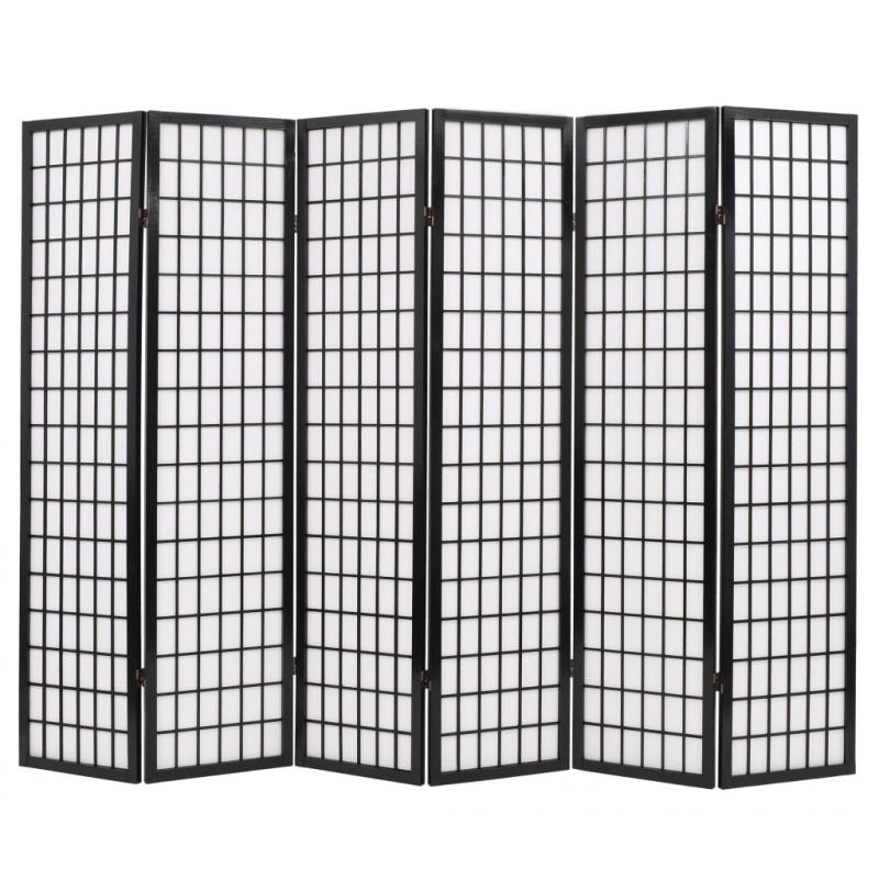 6tlg. Raumteiler Japanischer Stil Klappbar 240 x 170 cm Schwarz