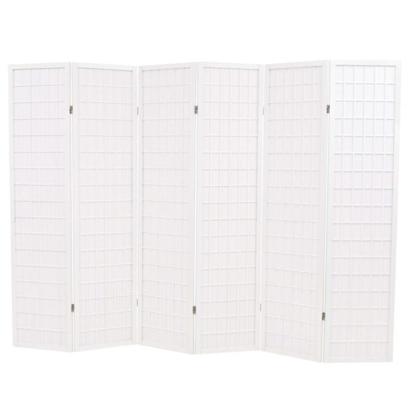 6-tlg. Raumteiler Japanischer Stil Klappbar 240 x 170 cm Weiß