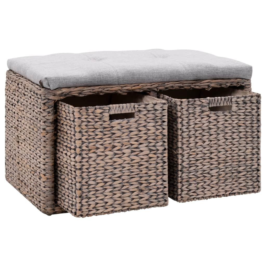 Sitzbank mit 2 Körben Seegras 71 x 40 x 42 cm Grau