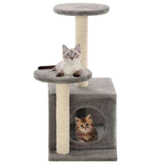 Katzenbaum mit Sisal-Kratzsäulen 60 cm Grau