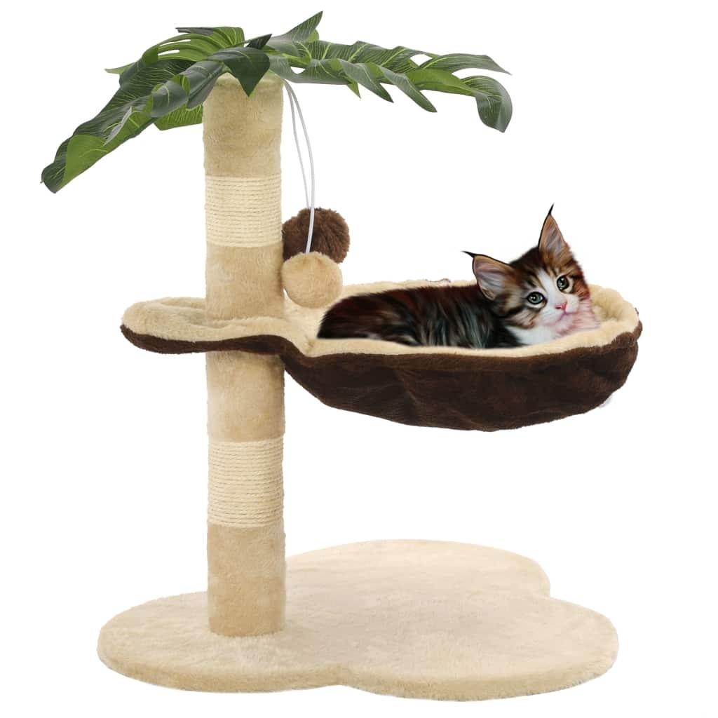 Katzen-Kratzbaum mit Sisal-Kratzstange 50 cm Beige und Braun
