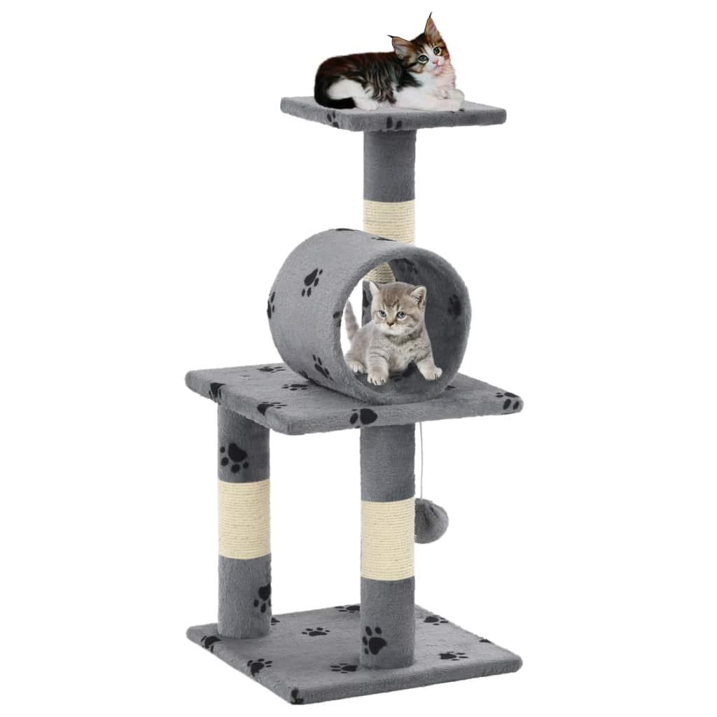 Katzen-Kratzbaum Sisal 65 cm Grau Pfoten-Aufdruck