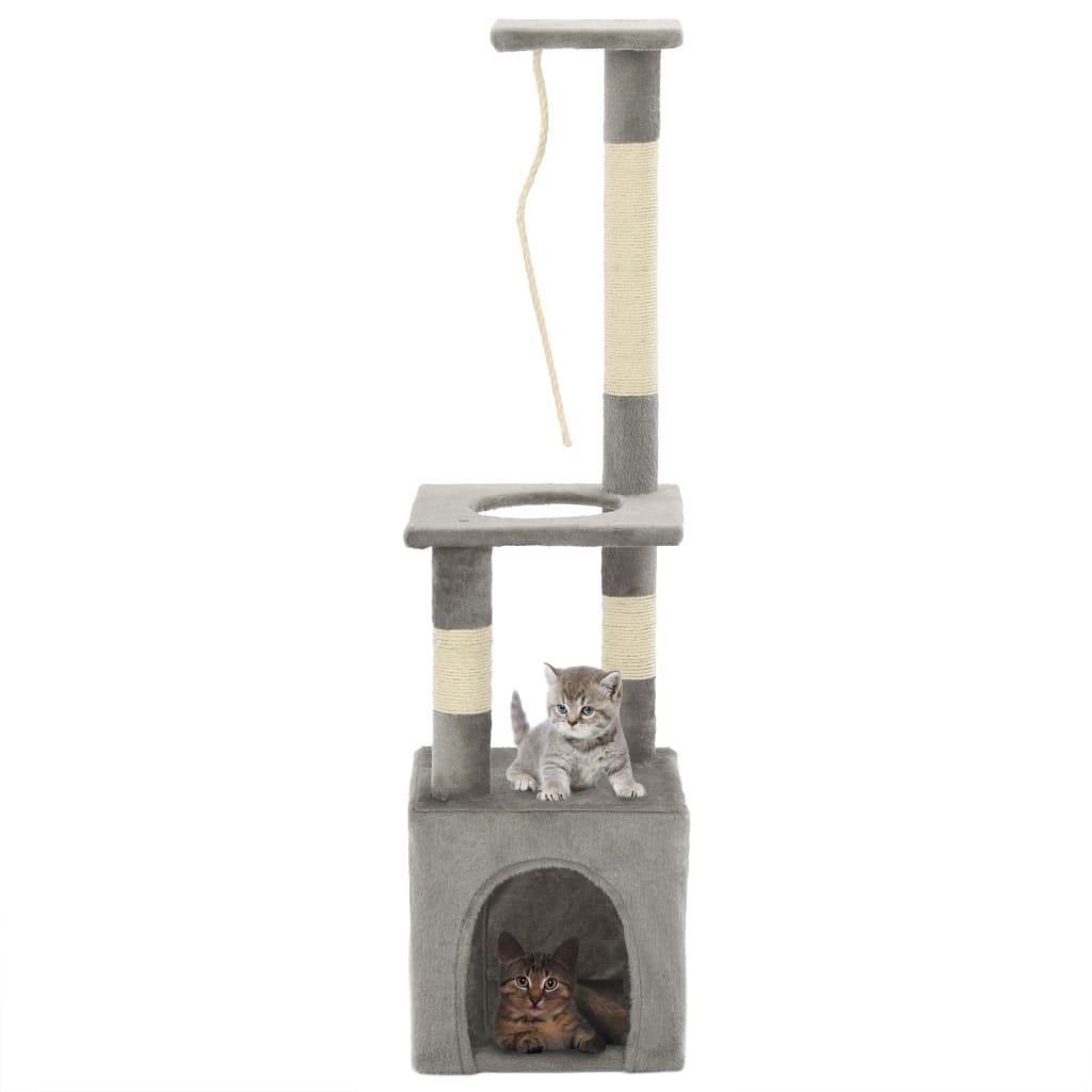 Katzen-Kratzbaum mit Sisal-Kratzsäulen 109 cm Grau