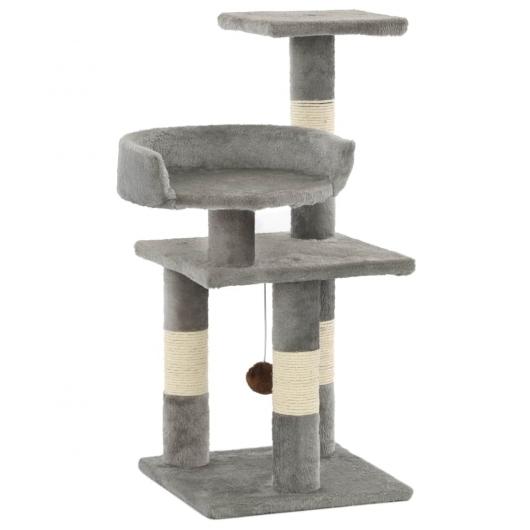 Katzen-Kratzbaum mit Sisal-Kratzsäulen 65 cm Grau