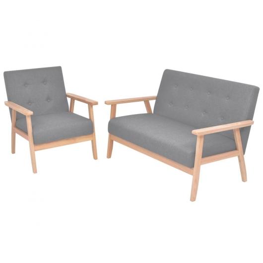 Sofa-Set 2-tlg. Stoff Hellgrau