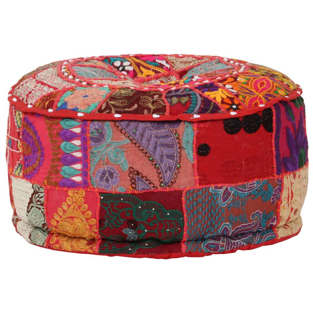 Patchwork Sitzpouf Rund Baumwolle Handgefertigt 40x20 cm Rot