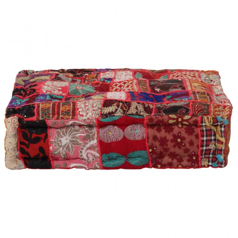Pouf Flickwerk Quadrat Baumwolle Handgefertigt 50×50×12 cm Rot